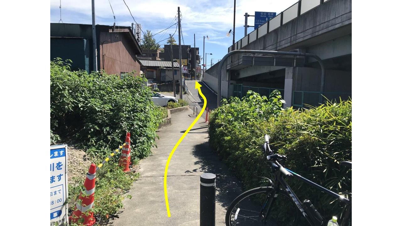 町田街道入口交差点へ向かう道