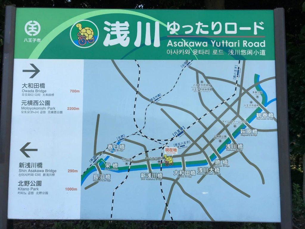 浅川ゆったりロード看板新浅川橋付近