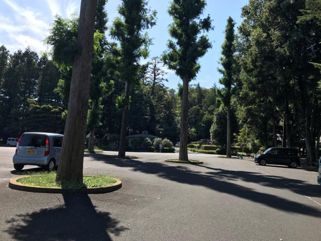 武蔵陵墓地駐車場内