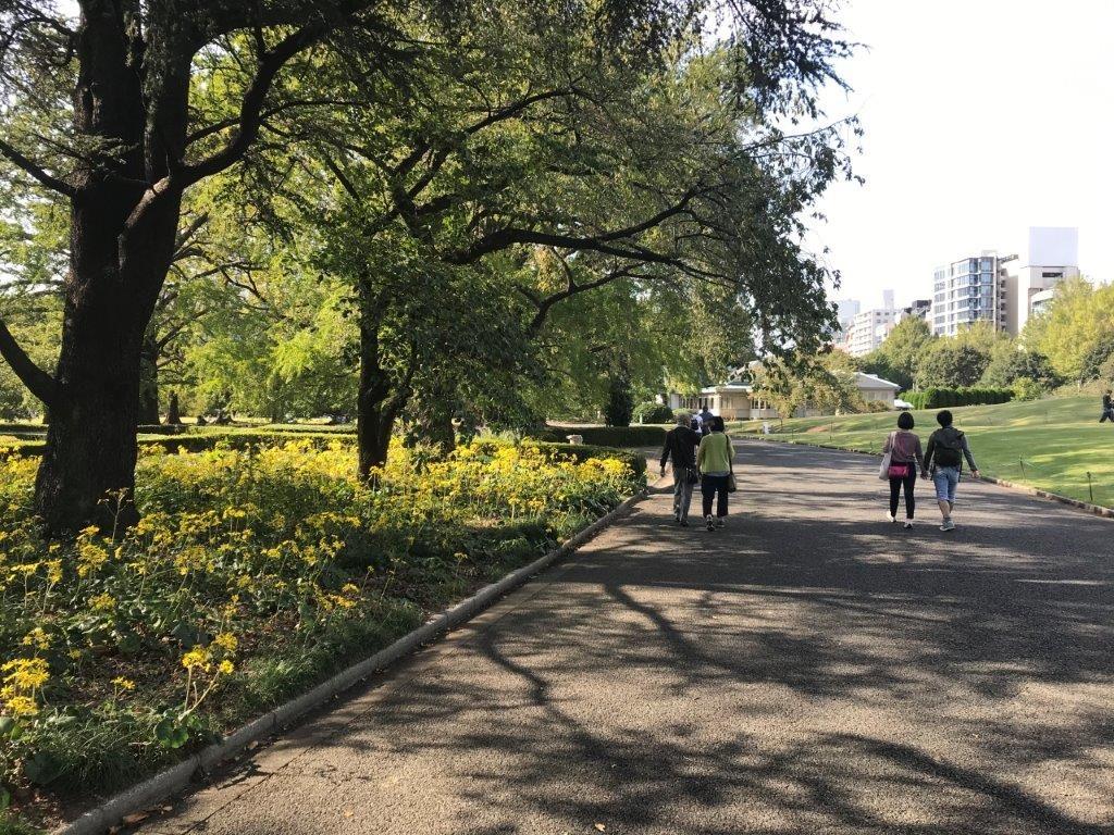 大温室前の歩道